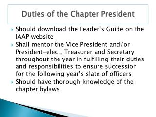 Duties of the Chapter President
