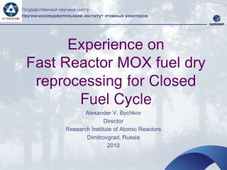 Alexander V. Bychkov Director Research Institute of Atomic Reactors Dimitrovgrad, Russia 2010