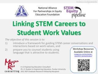 Linking STEM Careers to  Student  Work Values
