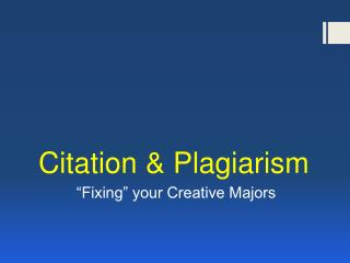 Citation & Plagiarism