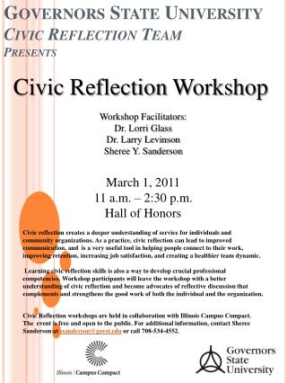 Governors State University Civic Reflection Team P resents