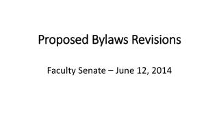 Proposed Bylaws Revisions