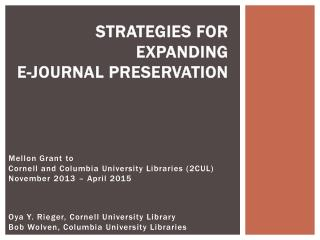 Strategies for Expanding  e-Journal Preservation