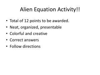 Alien Equation Activity!!