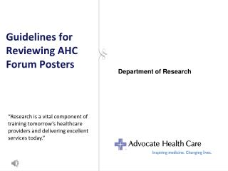 Guidelines for Reviewing AHC Forum Posters