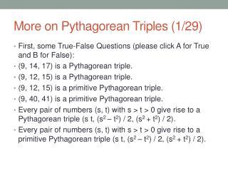 More on Pythagorean Triples (1/29)