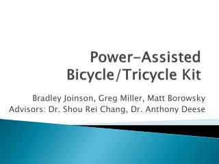 Power-Assisted Bicycle/Tricycle Kit