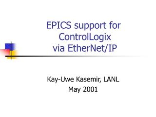EPICS support for  ControlLogix  via EtherNet