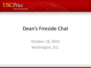 Dean's Fireside  Chat