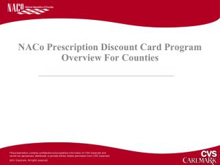 NACo Prescription Discount Card Program Overview For Counties
