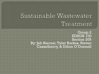 Sustainable Wastewater Treatment