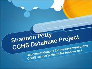 Shannon Petty CCHS Database Project