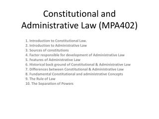 Constitutional and Administrative Law (MPA402)
