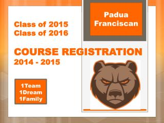 Class of 2015 Class of 2016 COURSE REGISTRATION 2014 - 2015