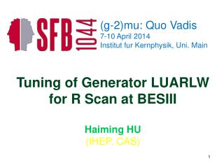 Tuning of Generator LUARLW for R Scan at BESIII Haiming HU (IHEP, CAS)