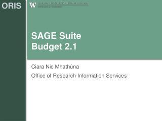 SAGE Suite Budget 2.1