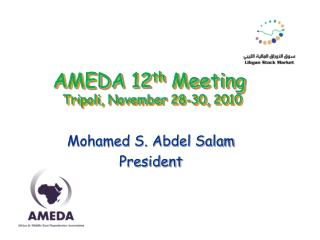 AMEDA  12 th Meeting  Tripoli, November 28-30, 2010