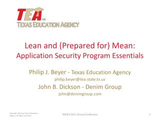 Lean and (Prepared for) Mean: Application Security Program Essentials