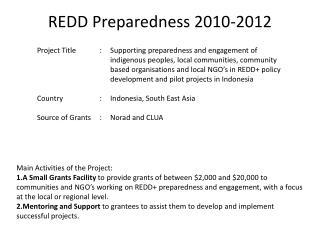 REDD Preparedness 2010-2012