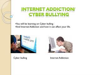 Internet addiction/  cyber bullying