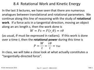 8.4  Rotational Work and Kinetic Energy