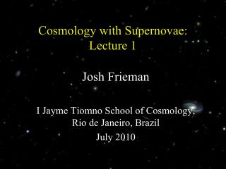 Cosmology with  Supernovae: Lecture 1