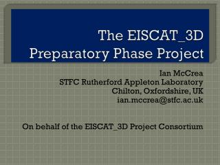 The EISCAT_3D  Preparatory Phase Project