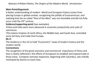Abstract of Robert Marks,  The Origins of the Modern World ,  Introduction