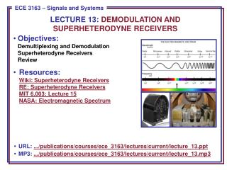 Objectives: Demultiplexing and Demodulation Superheterodyne Receivers Review