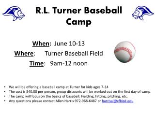 R.L. Turner Baseball Camp