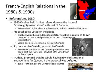 French-English Relations in the  1980s & 1990s