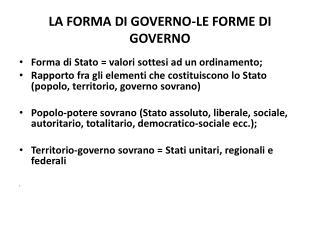 LA  FORMA DI GOVERNO-LE FORME DI GOVERNO