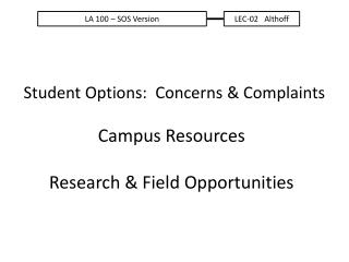 Student  Options:  Concerns & Complaints