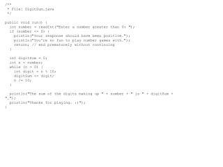 /** * File: DigitSum.java */ public  void run() {