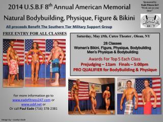 2014 U.S.B.F 8 th  Annual American Memorial Natural Bodybuilding, Physique, Figure & Bikini