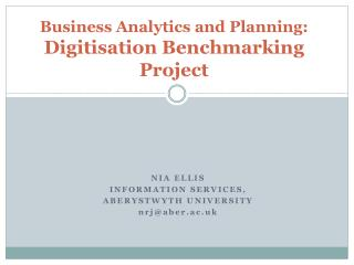 Business Analytics and  Planning: Digitisation Benchmarking Project