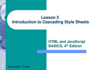 Lesson 5  Introduction to Cascading Style Sheets