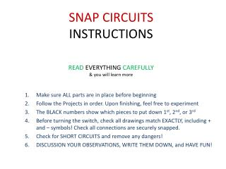 SNAP CIRCUITS INSTRUCTIONS