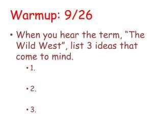 Warmup : 9/26
