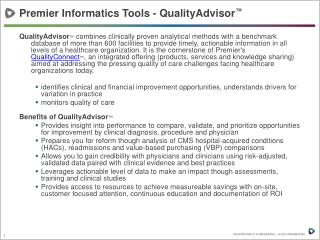 Premier Informatics Tools - QualityAdvisor ™