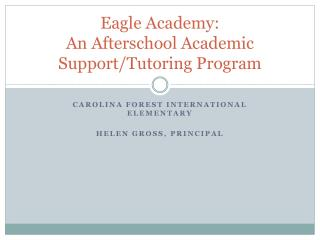 Eagle Academy: An Afterschool Academic Support/Tutoring Program
