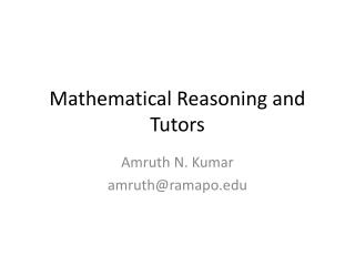 Mathematical Reasoning and Tutors