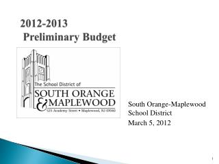 2012-2013  Preliminary Budget