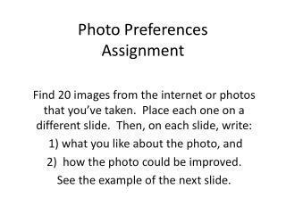Photo Preferences  Assignment