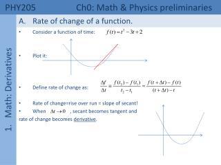 PHY205  Ch0: Math & Physics preliminaries