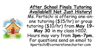 After School Finals Tutoring Available