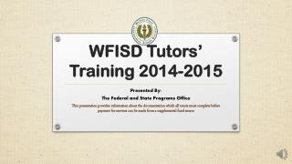 WFISD  Tutors' Training 2014-2015