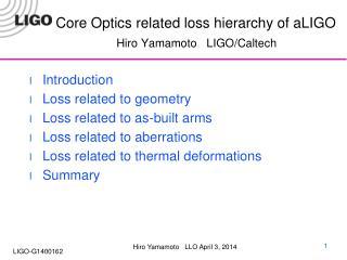 Core Optics related loss hierarchy of  aLIGO Hiro Yamamoto   LIGO/Caltech
