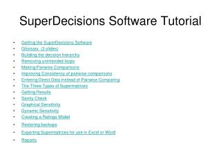 SuperDecisions Software Tutorial