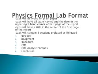 Physics Formal Lab Format